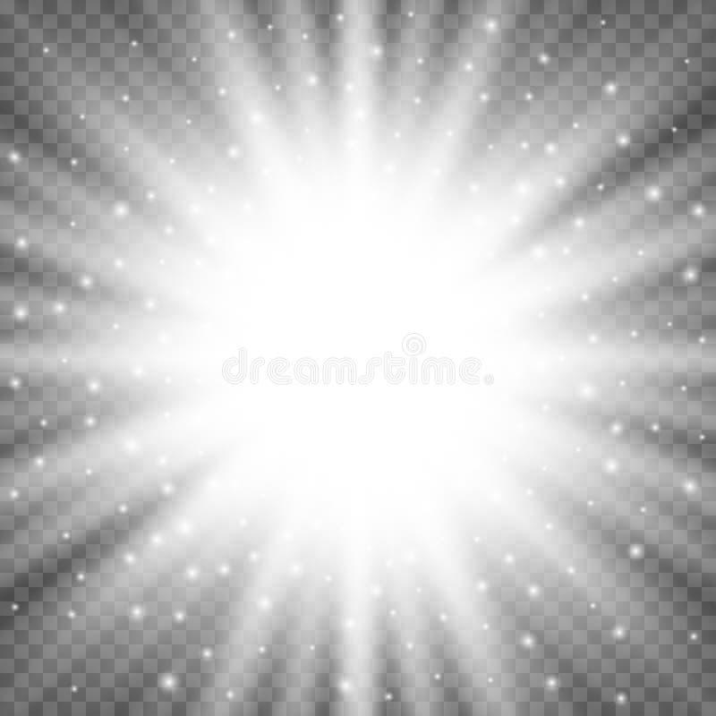 Esplosione leggera d'ardore bianca di scoppio su fondo trasparente Decorazione luminosa di effetto del chiarore con le scintille  illustrazione vettoriale