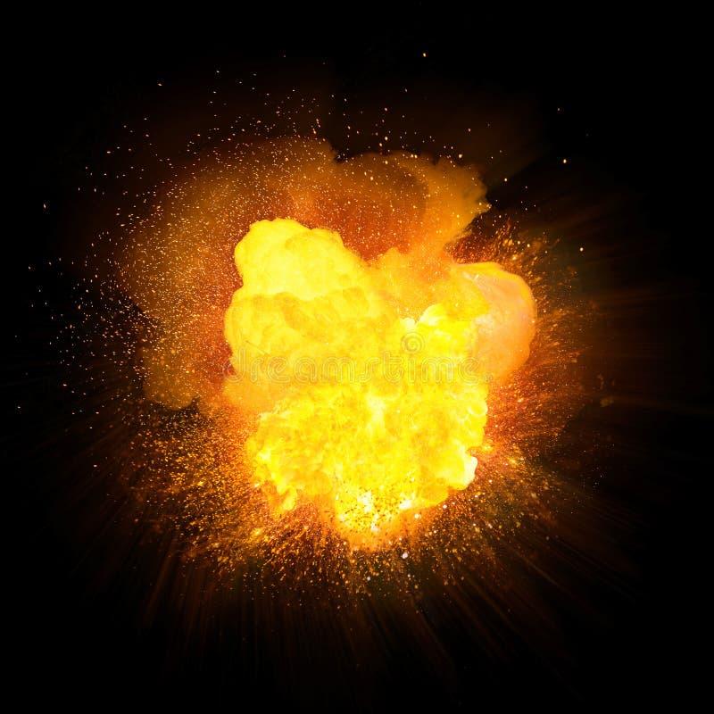 Esplosione luminosa del fuoco arancio realistico con le scintille illustrazione vettoriale