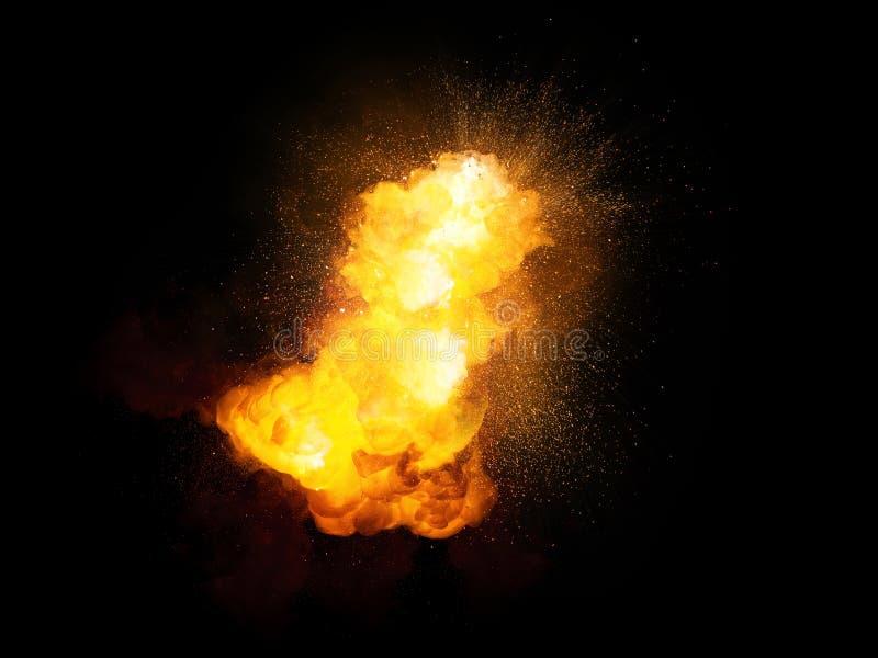 Esplosione luminosa della bomba ardente realistica con le scintille ed il fumo royalty illustrazione gratis