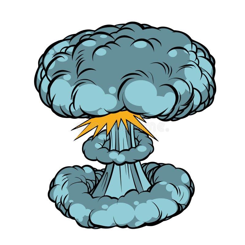 Esplosione nucleare isolata su fondo bianco illustrazione di stock