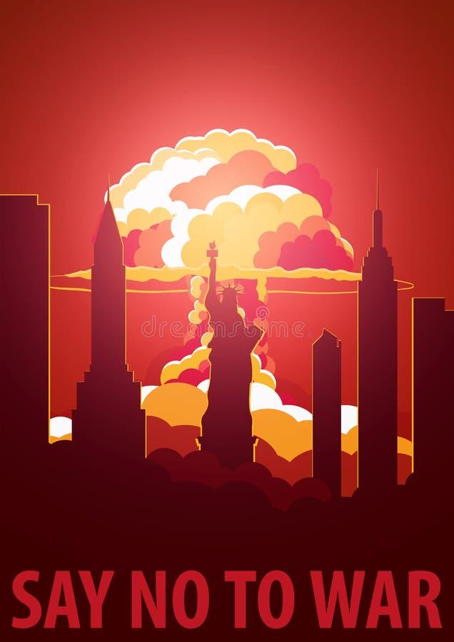 Esplosione nucleare nella città U.S.A. dice no alla guerra Retro manifesto del fumetto Illustrazione di vettore illustrazione vettoriale
