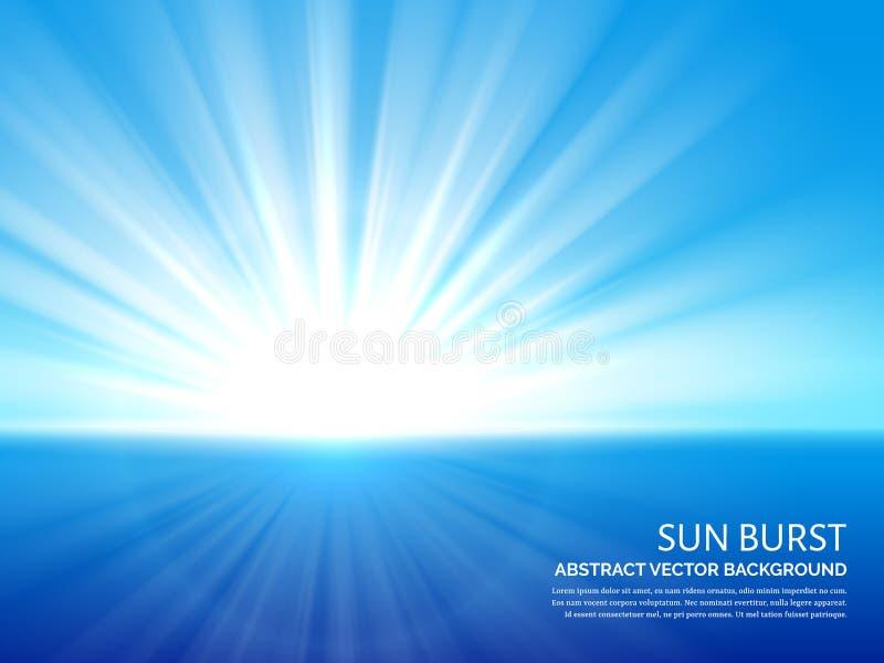 Esplosione solare bianca in cielo blu Luce solare astratta che scoppia il fondo di vettore di effetto illustrazione vettoriale
