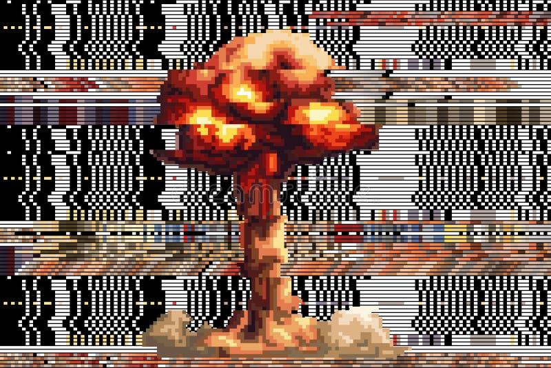 Esplosione tirata quadra i pixel fondo rotto di vettore cifra fotografia stock libera da diritti
