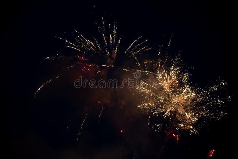 Esplosione variopinta luminosa multipla dei fuochi d'artificio nel cielo immagini stock libere da diritti