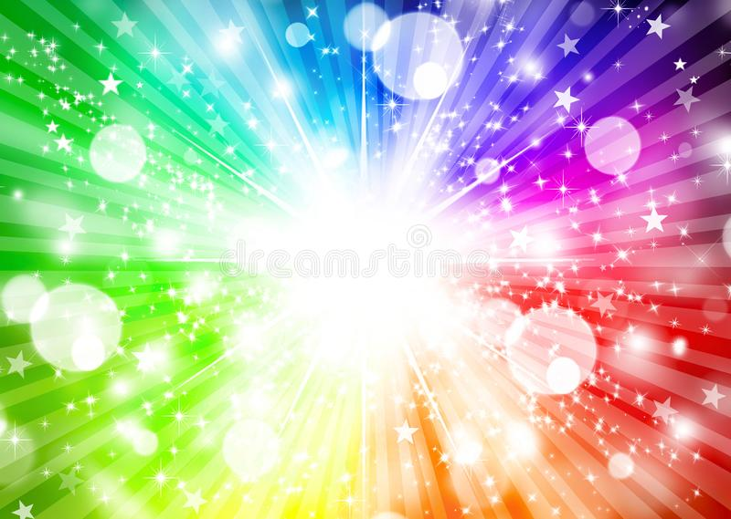 Esplosione variopinta scintillante delle stelle del fondo astratto dell'arcobaleno illustrazione vettoriale