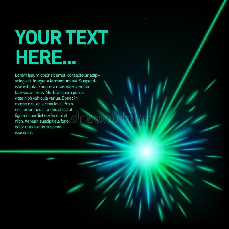 Esplosione verde del fascio laser fotografia stock