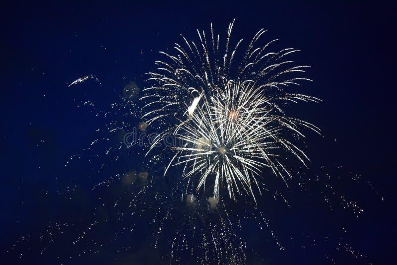 Esplosioni dei fuochi d'artificio nel cielo notturno fotografia stock libera da diritti