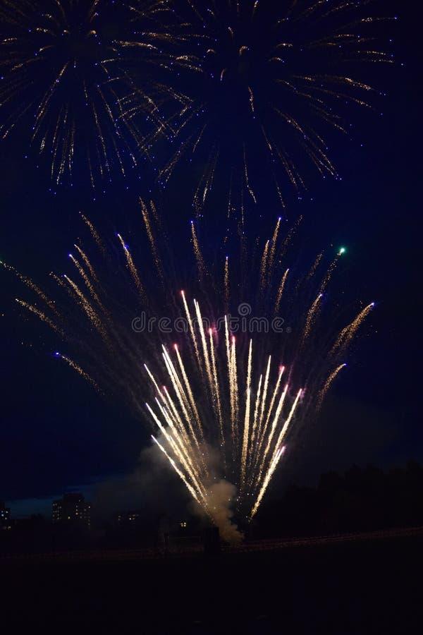 Esplosioni dei fuochi d'artificio nel cielo notturno immagini stock libere da diritti