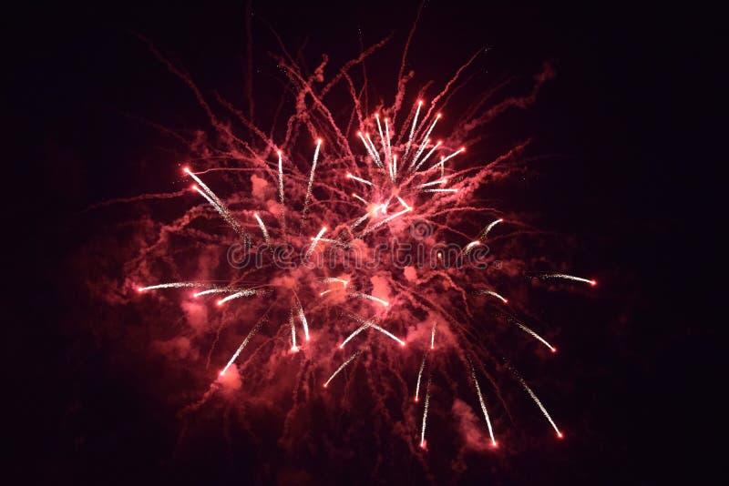 Esplosioni dei fuochi d'artificio nel cielo notturno fotografie stock libere da diritti