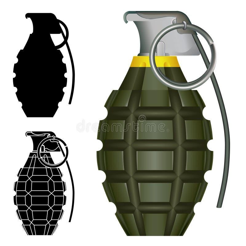 Esplosivo della granata a mano dell'ananas illustrazione vettoriale