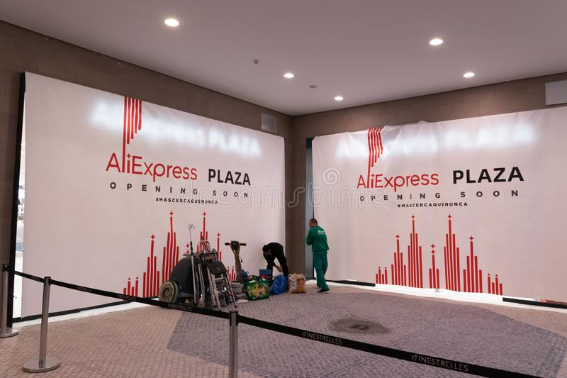 Esplugues de Llobregat, Barcelona / Spain - Nov 28, 2019: Aliexpress Plaza shop preparing for grand opening during Black Friday. It will be the second physical stock photography
