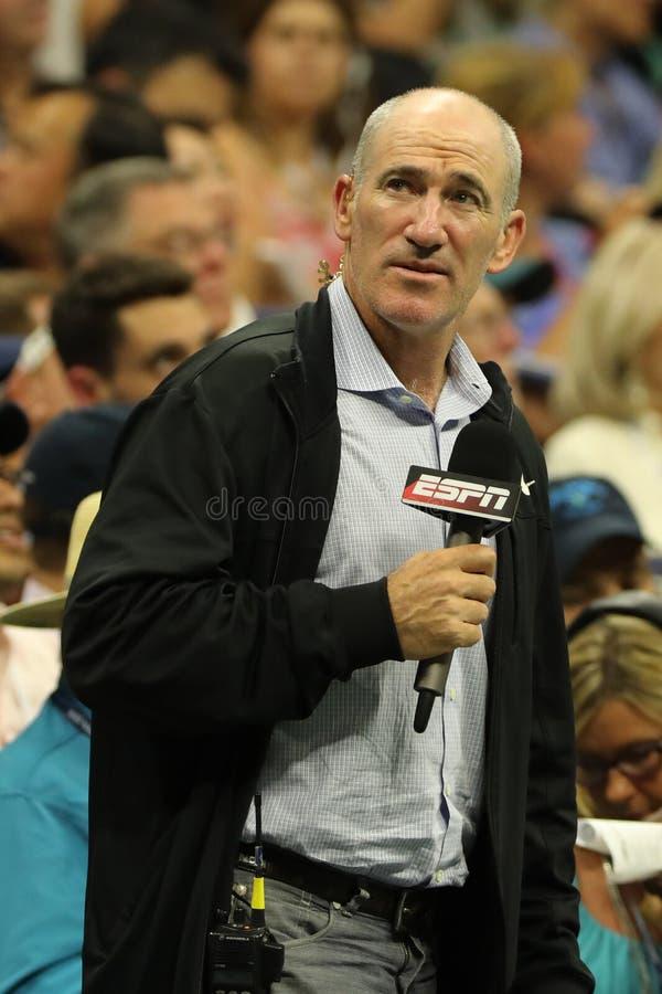 ESPN analyst Brad Gilbert comments match at US Open 2016 at Billie Jean King National Tennis Center New York. NEW YORK - AUGUST 29, 2016: ESPN analyst Brad stock photo