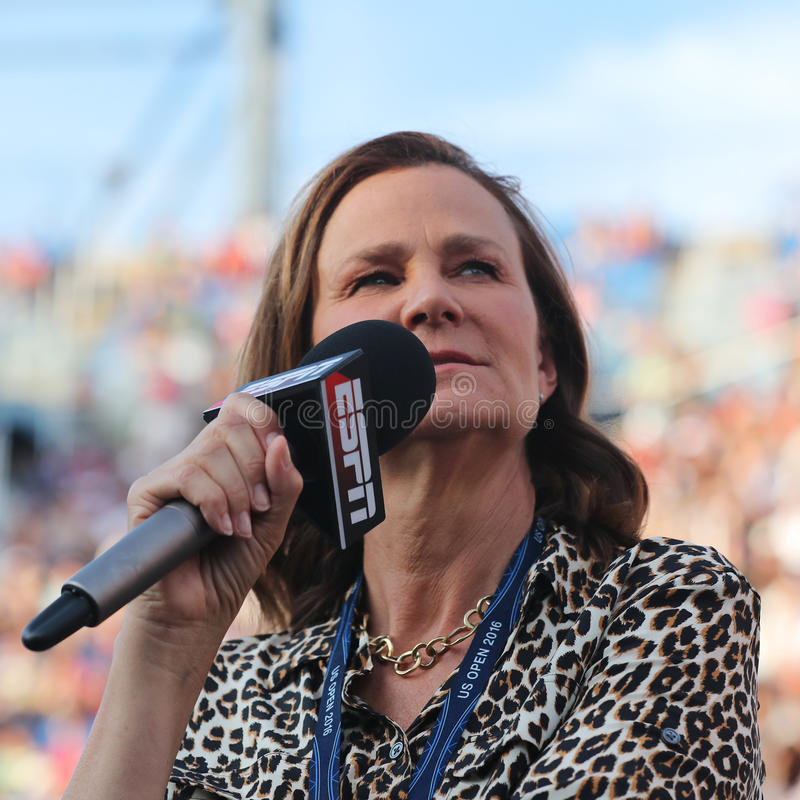 ESPN analyst Pam Shriver comments tennis match at US Open 2016. NEW YORK - SEPTEMBER 5, 2016: ESPN analyst Pam Shriver comments tennis match at US Open 2016 at stock image