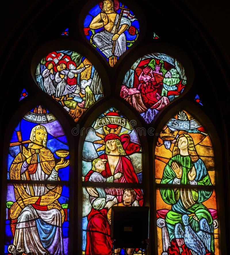 Espoir Jesus Stained Glass De Krijtberg Amsterdam Pays-Bas d'amour de foi photographie stock libre de droits