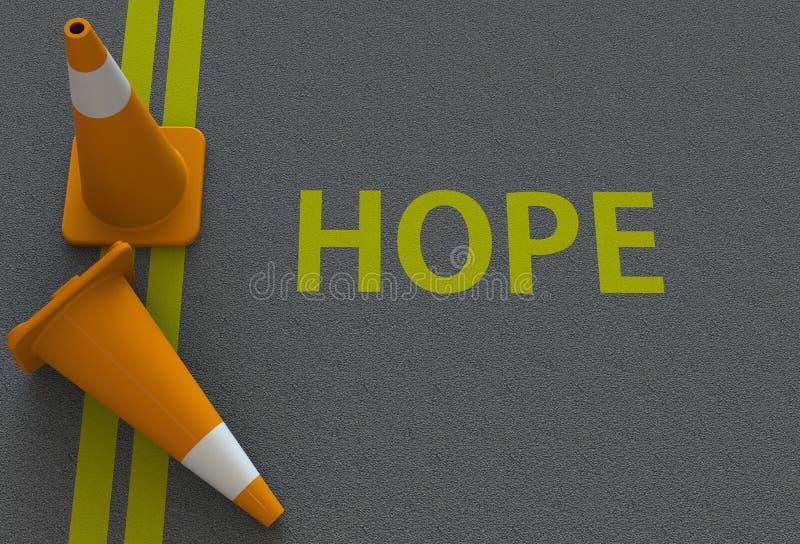 Espoir, message sur la route illustration stock