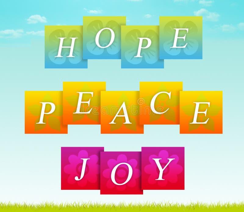 Espoir, paix, joie illustration stock