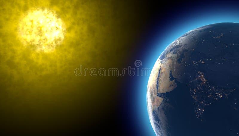 Esponga al sole e terra nello spazio, il vento solare, tempesta solare illustrazione vettoriale