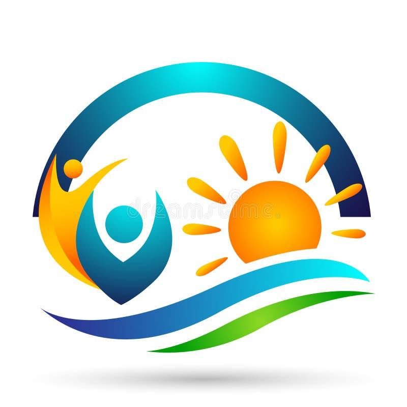 Esponga al sole il vettore di progettazione dell'icona di simbolo di concetto della barca della celebrazione di benessere del sin illustrazione di stock