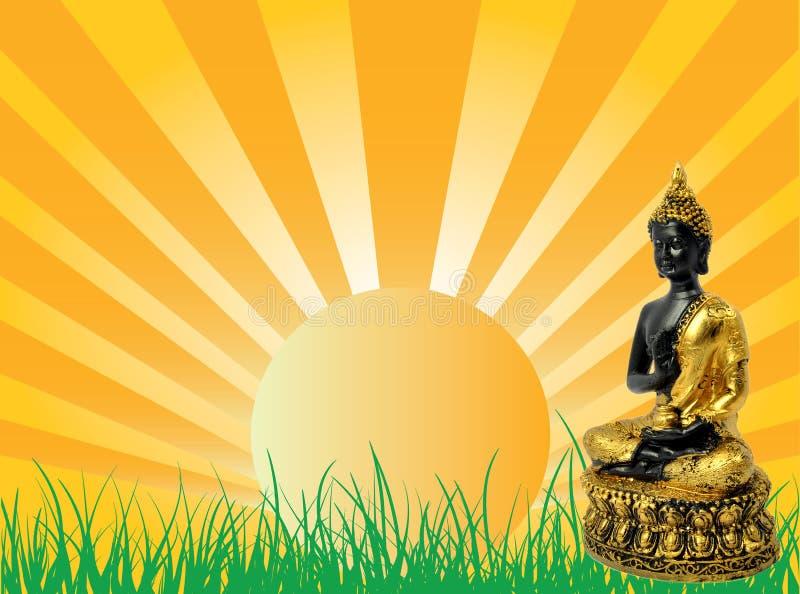 Esponga al sole l'aumento con Buddha illustrazione di stock