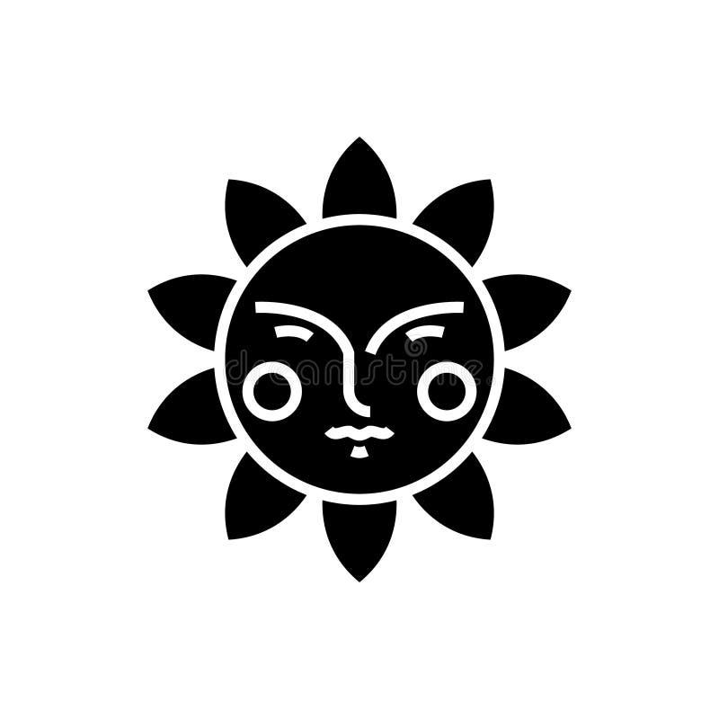 Esponga al sole l'icona del fronte, l'illustrazione di vettore, segno nero su fondo isolato illustrazione di stock