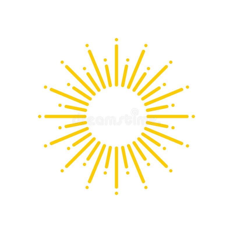 Esponga al sole l'icona gialla dei raggi isolata su fondo bianco royalty illustrazione gratis