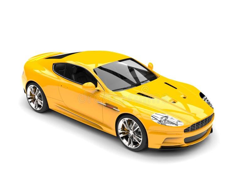 Esponga al sole la cima automobilistica di lusso di sport moderni gialli giù la vista illustrazione di stock
