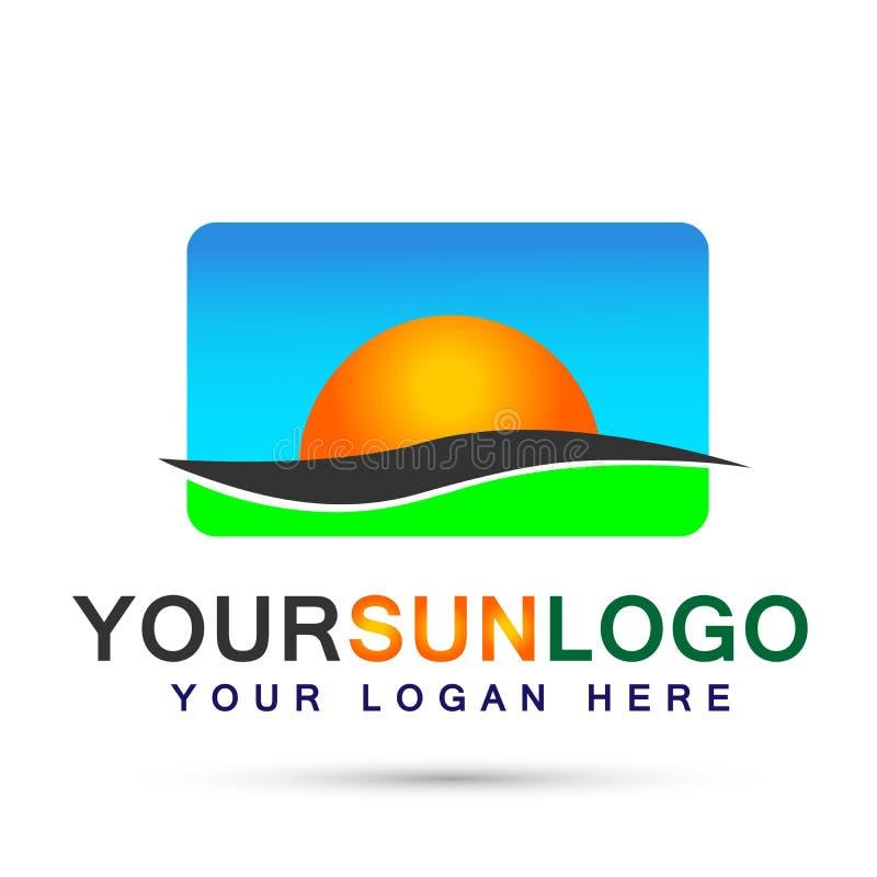Esponga al sole la progettazione di logo di simbolo delle icone dell'elemento dell'icona del globo e del cielo blu di logo su fon royalty illustrazione gratis