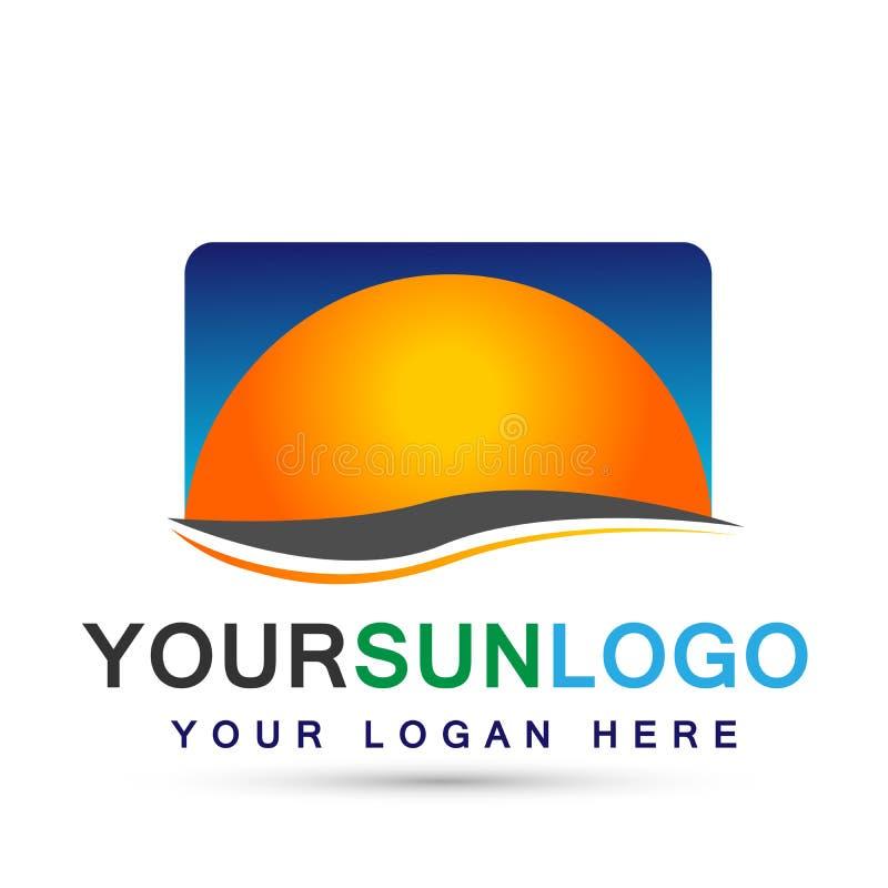 Esponga al sole la progettazione di logo di simbolo delle icone dell'elemento dell'icona del globo e del cielo blu di logo su fon illustrazione vettoriale
