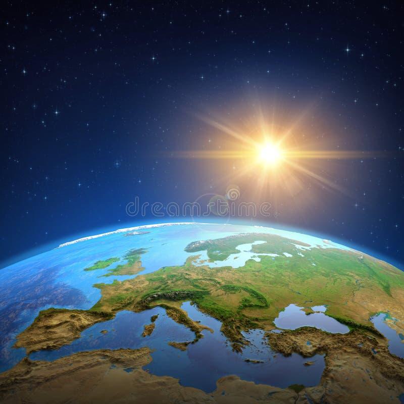 Esponga al sole splendere sopra la terra da spazio illustrazione di stock