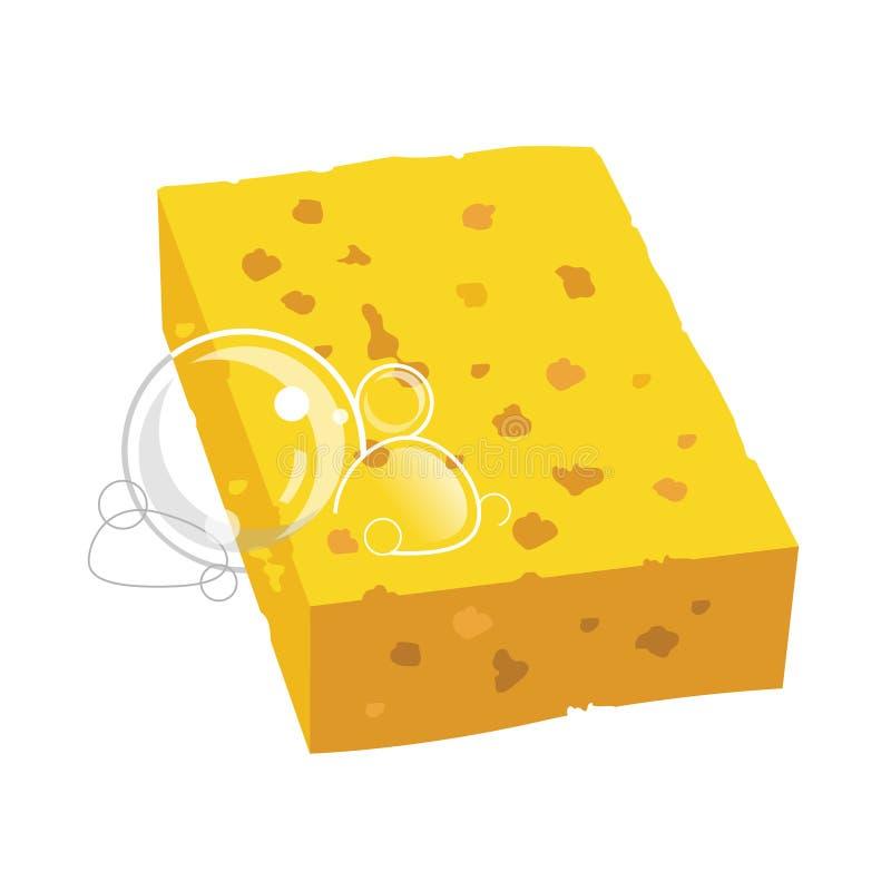 Esponja amarilla con las burbujas stock de ilustración