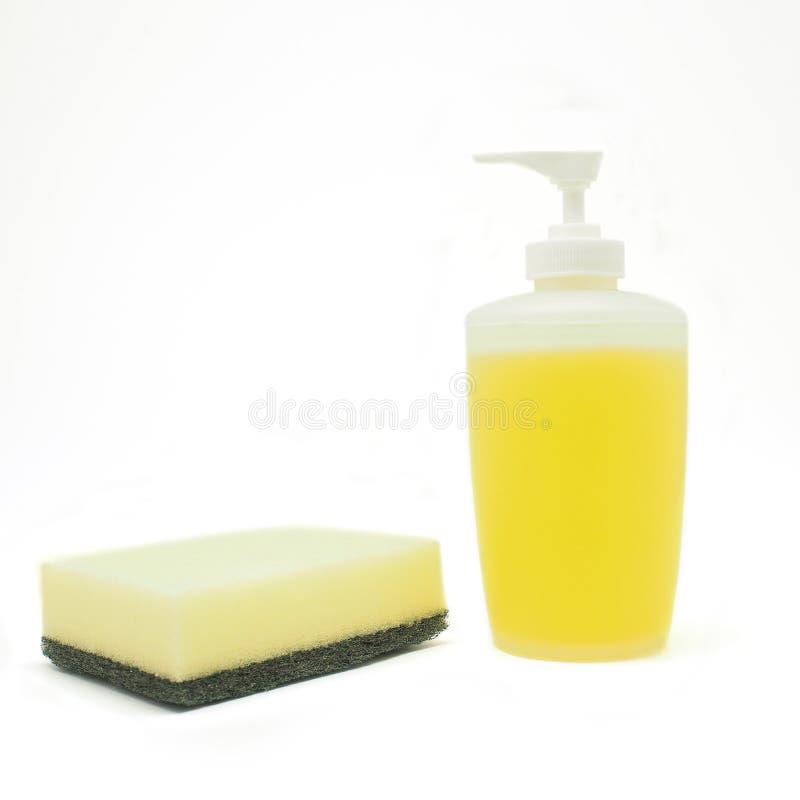 Esponja e líquido da lavagem da louça fotografia de stock royalty free
