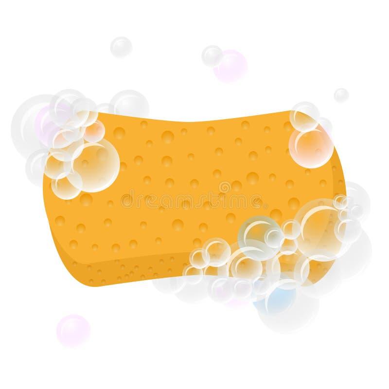 Esponja para lavarse con las burbujas de la espuma stock de ilustración
