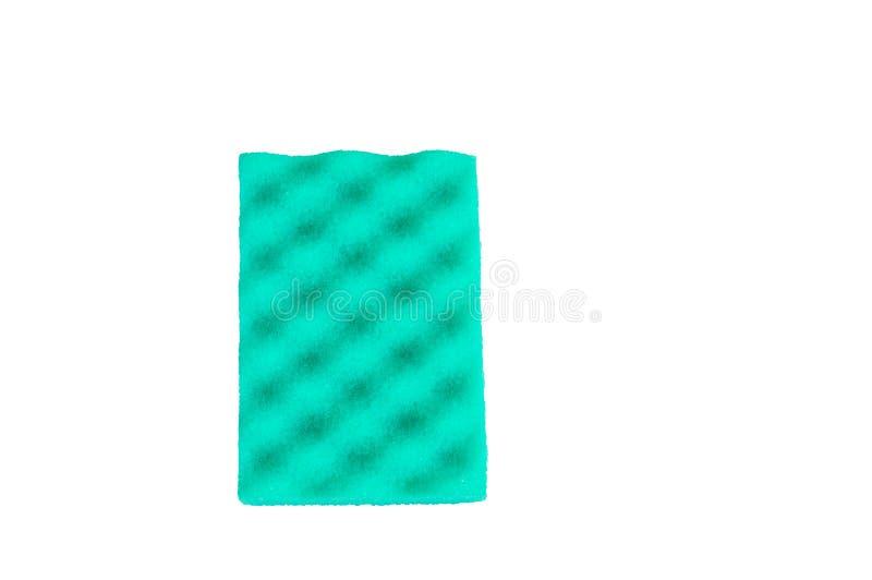 A esponja verde para limpar isolada no fundo branco, trajeto de grampeamento incluiu, vista superior, espaço da cópia, configur fotos de stock