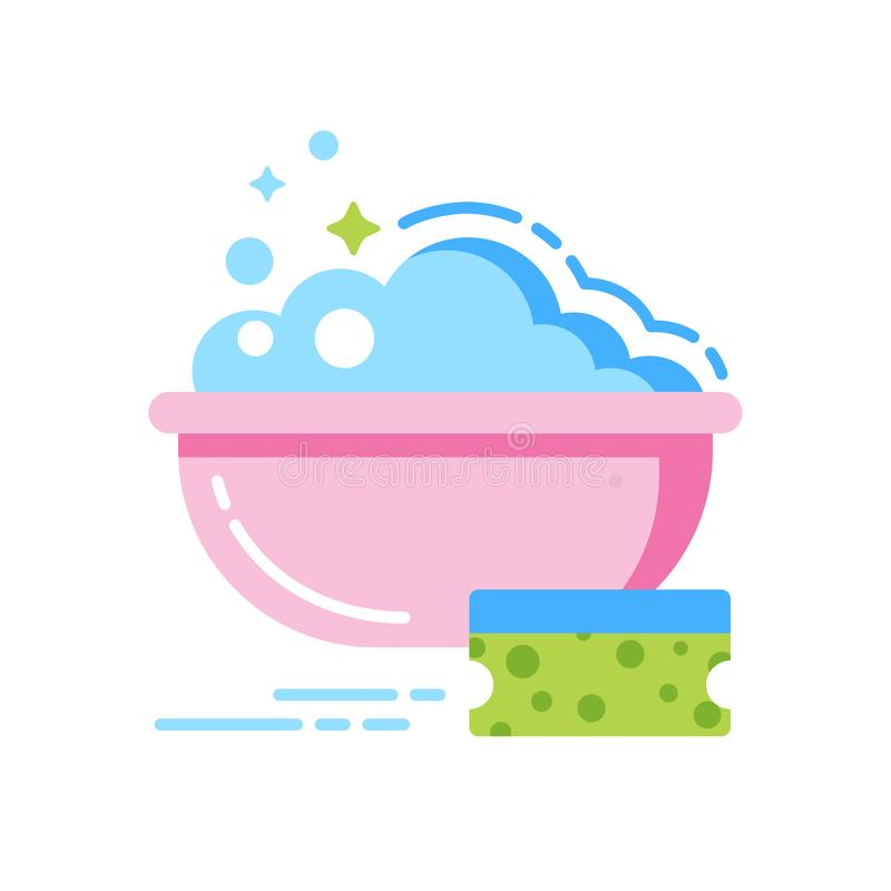 Esponja y cuenco de icono plano del color del agua Plantilla plana aislada libre illustration
