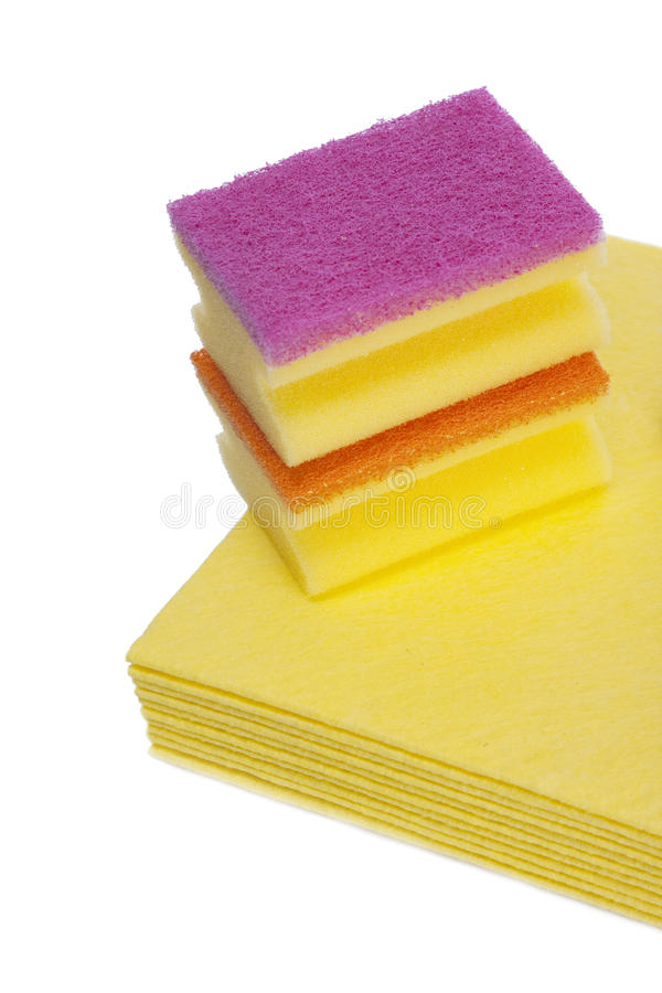 Esponja y paños de la limpieza imagen de archivo