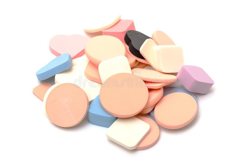 Esponjas do cosmético da variedade imagens de stock