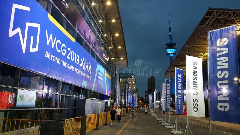 eSport赌博奥运会事件'世界电子竞技大赛WCG 2019年在西安,中国 免版税库存照片