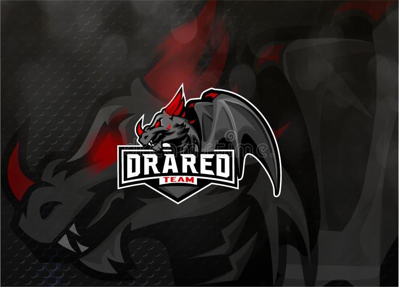 Esport de Dragon Mascot Illustration Vetora Logo ilustração do vetor