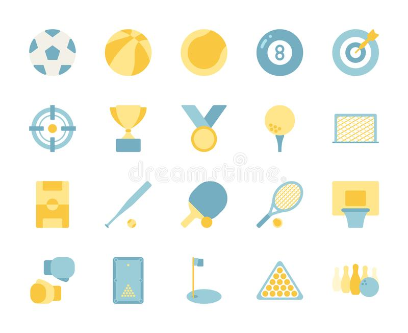Esport e grupo do ícone do projeto de jogo de vídeo ilustração do vetor