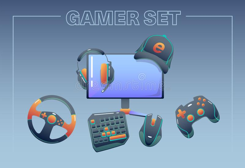 Esport equipment concept with competitive games accessories: headphones, gaming keyboard, mouse.Gamer set. Vector flat. Esport equipment concept with competitive royalty free illustration