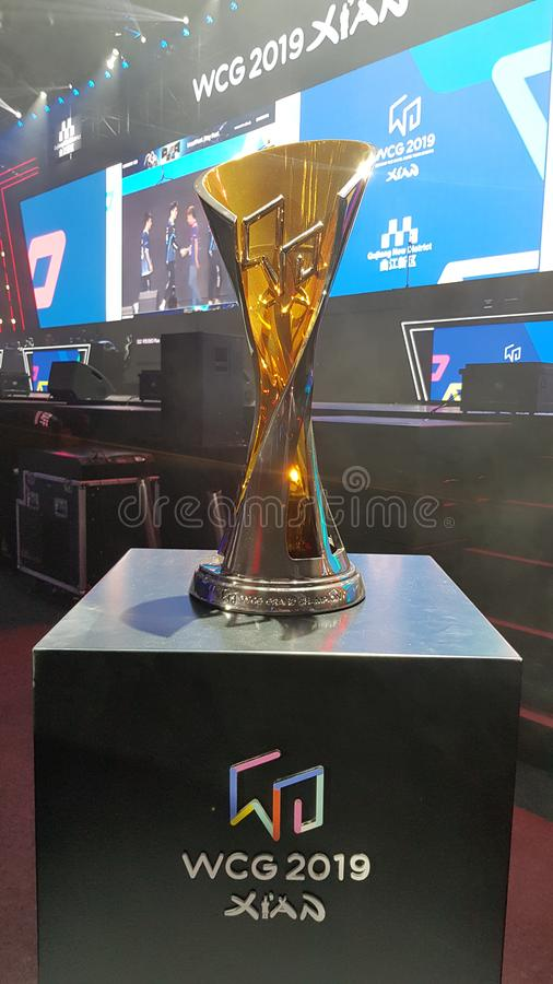The eSport Gaming Olympic Game event `World Cyber Games` WCG 2019 in Xi`an, China.  stock photography