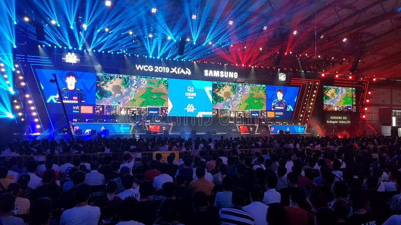 The eSport Gaming Olympic Game event `World Cyber Games` WCG 2019 in Xi`an, China.  royalty free stock images