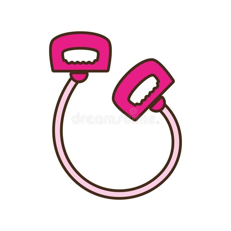 Esporte cor-de-rosa do punho da corda de salto dos desenhos animados ilustração do vetor