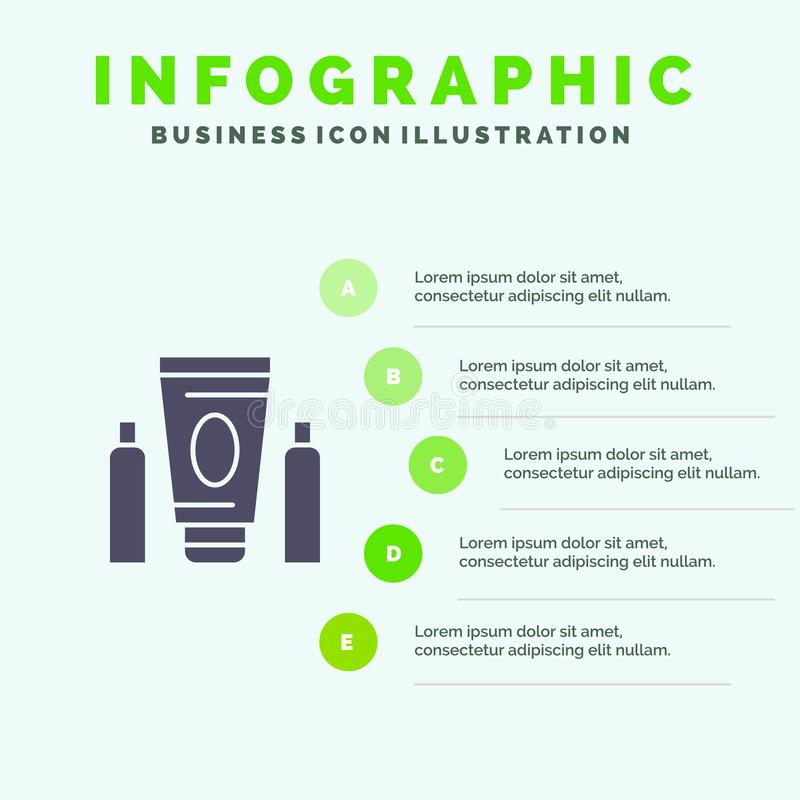 Esporte, creme, médico, fundo contínuo da apresentação das etapas de Infographics 5 do ícone dos cuidados médicos ilustração do vetor