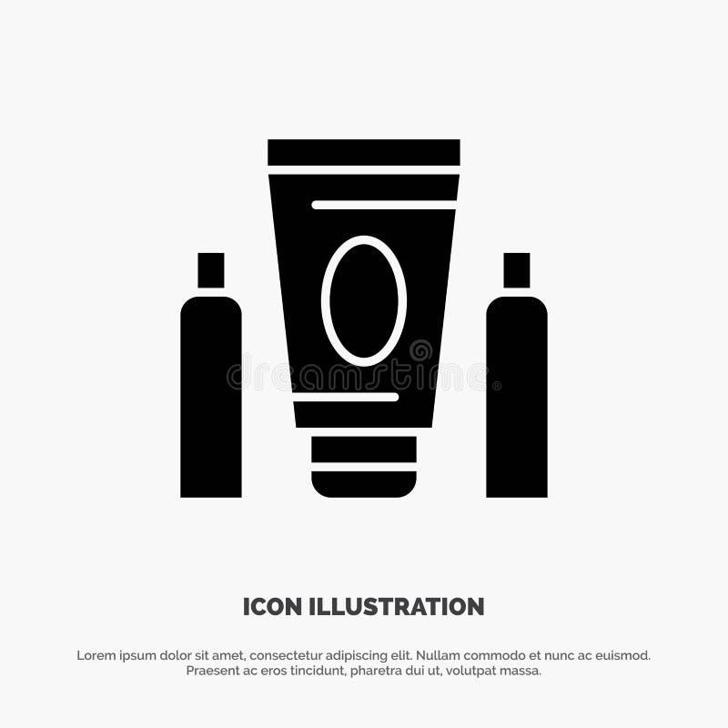 Esporte, creme, médico, vetor contínuo do ícone do Glyph dos cuidados médicos ilustração stock