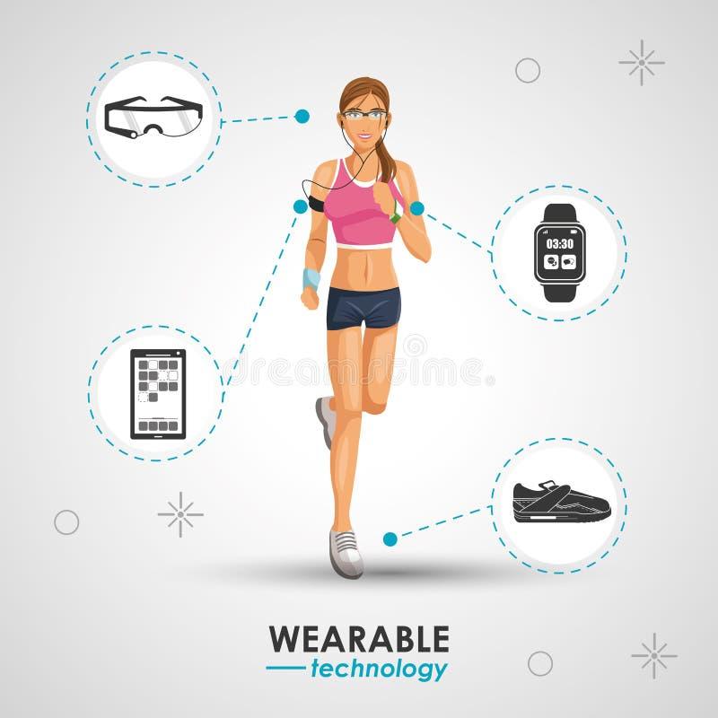 Esporte da mulher que movimenta a tecnologia wearable ilustração stock