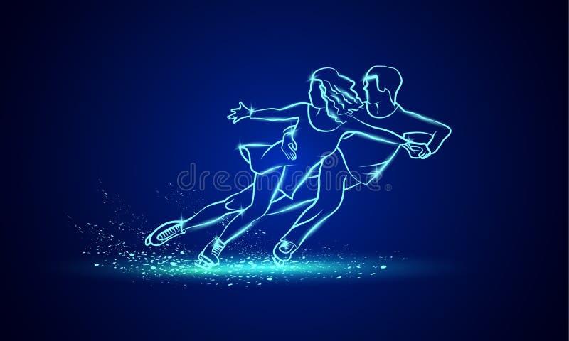 Esporte da patinagem artística dos pares Patinagem artística de néon linear azul dos pares em um fundo preto ilustração royalty free