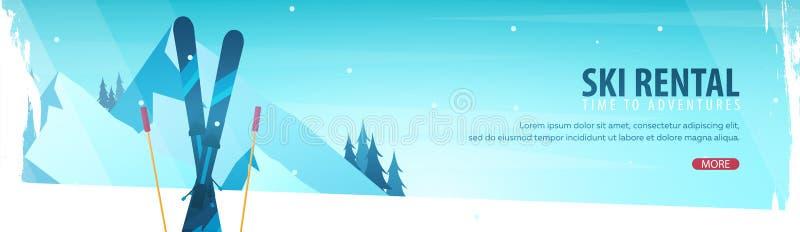 Esporte de inverno Bandeira horizontal de Ski Rental Ilustração do vetor ilustração do vetor