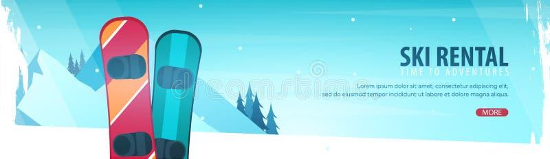 Esporte de inverno Bandeira horizontal de Ski Rental Ilustração do vetor ilustração stock