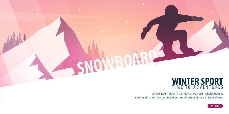 Esporte de inverno Esqui e Snowboard Paisagem da montanha Snowboarder no movimento Ilustração do vetor ilustração royalty free